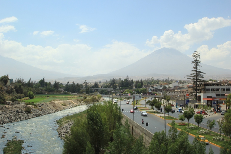 Arequipa with one of it's three neighboring volcanoes in the background (I think this one is Misti? Or maybe Chachani?)